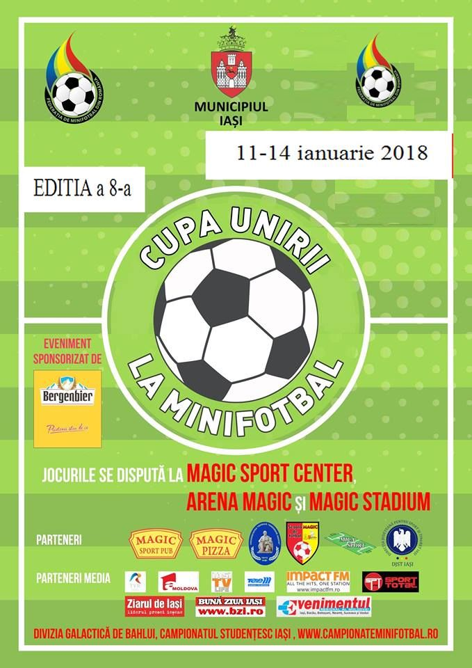 IASI: CUPA UNIRII la minifotbal va avea loc in perioada 11-14 ianuarie 2018
