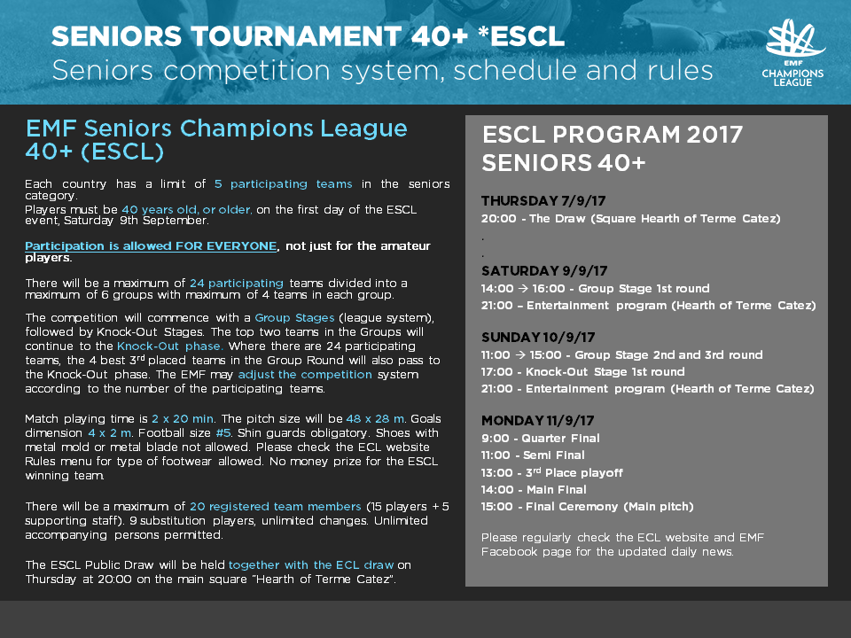 Înscrieri la EMF Seniors Champions League 40+ !