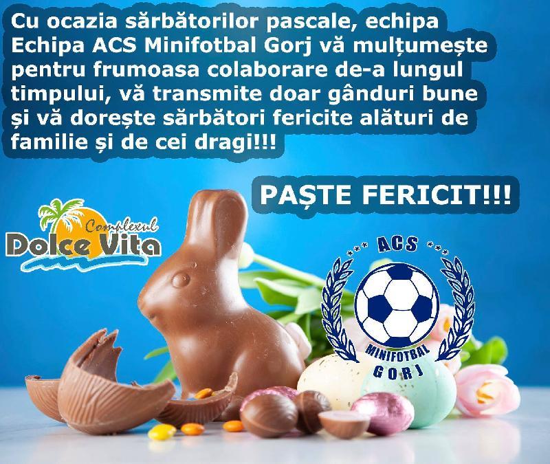 """Asociația Club Sportiv Minifotbal Gorj vă urează: """"Paște fericit!"""""""