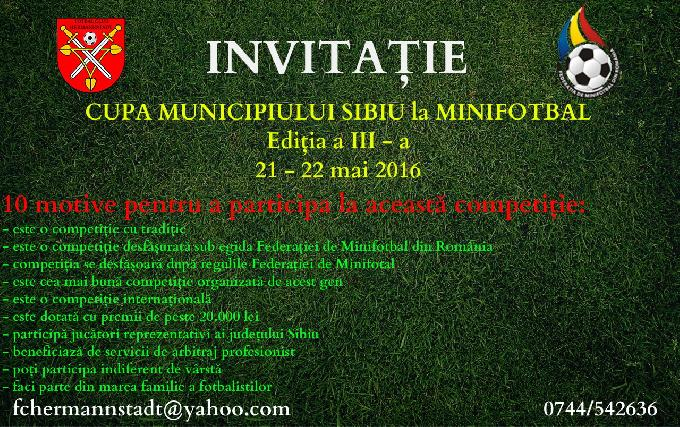 Invitatie Cupa Municipiului Sibiu la minifotbal