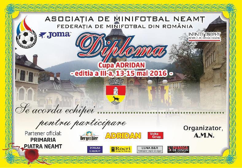 Invitatie la Cupa Adridan, din Piatra Neamt