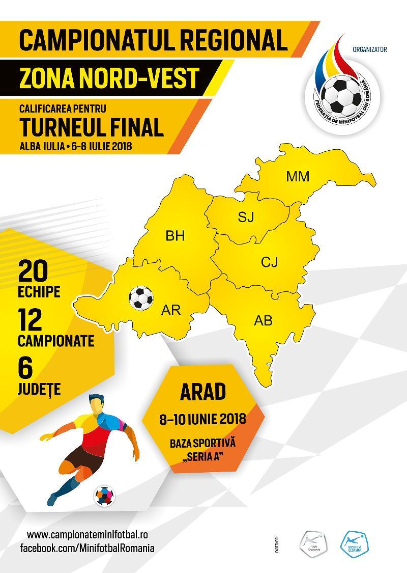 Organizare și sistem de desfășurare, Campionat Regional Nord-Vest, Arad